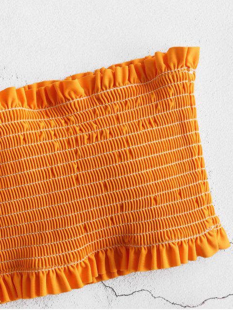 ZAFUL Smocked Ruffle Bandeau Bikini Set - Abelha Amarela S Mobile
