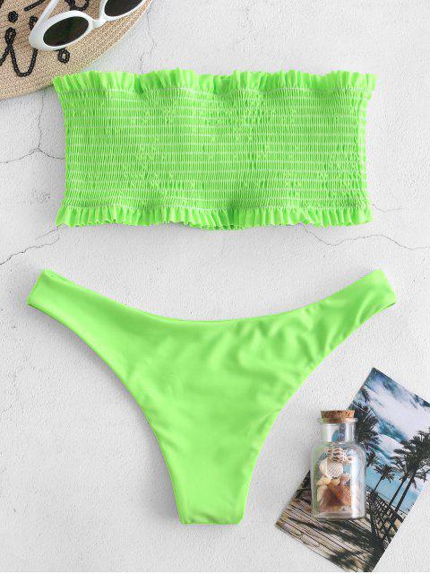 best ZAFUL Smocked Ruffle Bandeau Bikini Set - CHARTREUSE M Mobile