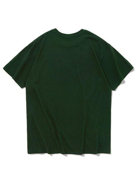 chic Octopus Chinese Letters Print Casual T-shirt - DARK FOREST GREEN S Mobile