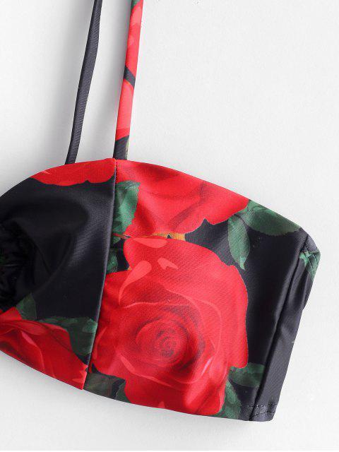 hot ZAFUL Rose Print Keyhole Bikini Set - MULTI-A S Mobile
