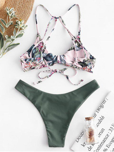 best ZAFUL Floral Strappy Mix and Match Bikini Set - MULTI-A M Mobile