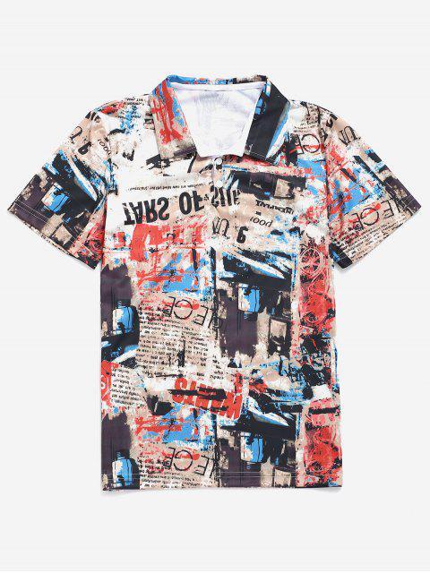 Tee-shirt graphique imprimé lettres rétro - Multi XS Mobile