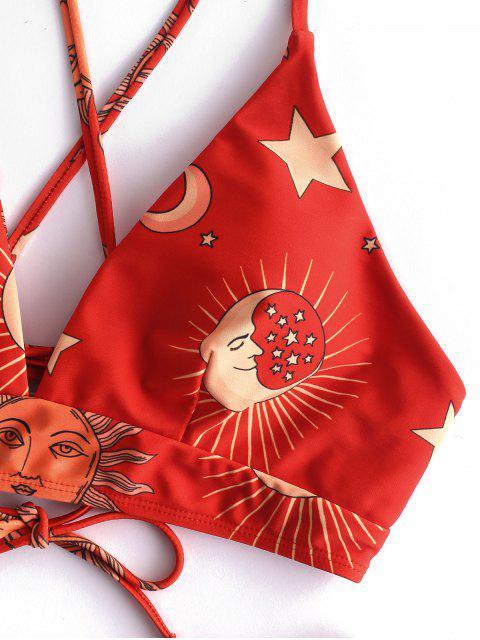 trendy ZAFUL Sun and Moon Lace Up Bikini Set - MULTI-A M Mobile
