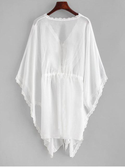 online Crochet Trim Batwing Sleeve Cover Up - WHITE ONE SIZE Mobile