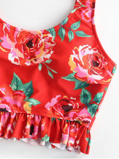 ZAFUL Flower Tankier Set de Tankini de cintura alta - Multicolor-A L Mobile