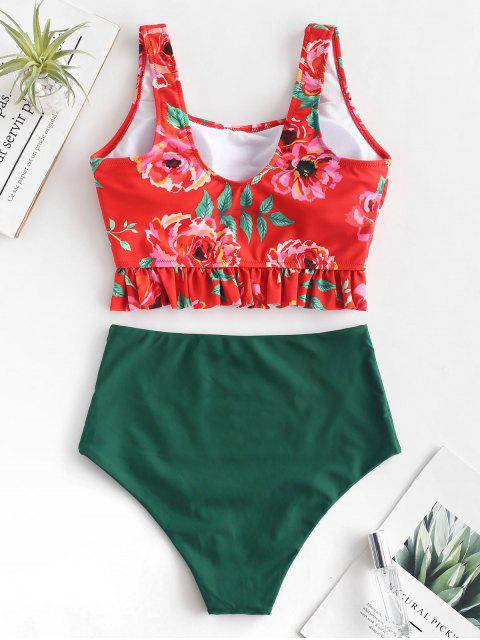 outfits ZAFUL Flower Ruffle High Waisted Tankini Set - MULTI-A M Mobile