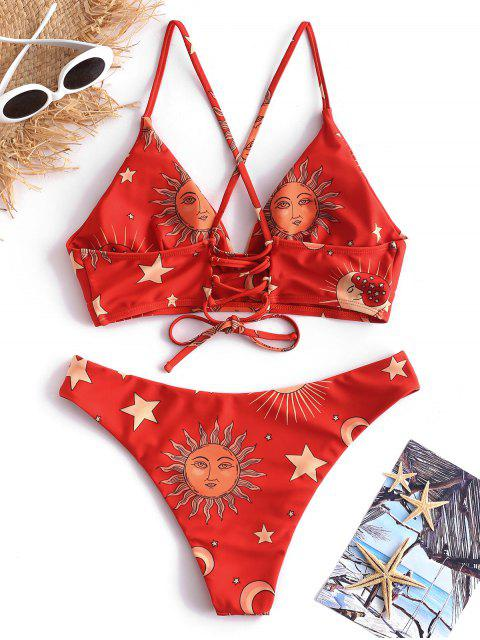 unique ZAFUL Sun and Moon Lace Up Bikini Set - MULTI-A L Mobile
