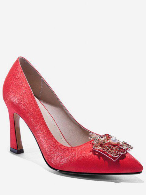 fashion Dragon Phoenix Buckle Satin Pumps - RED EU 35 Mobile