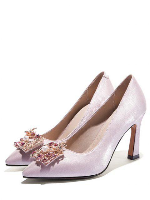 latest Dragon Phoenix Buckle Satin Pumps - WHITE EU 37 Mobile