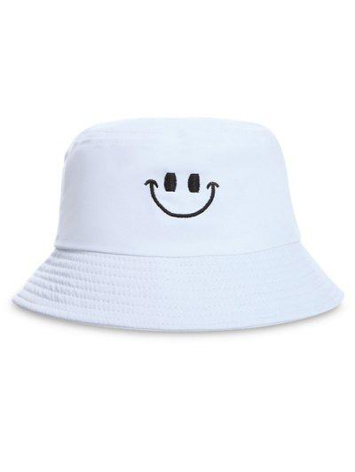 d38b312de1f Embroidery Smile Face Bucket Hat - White ...