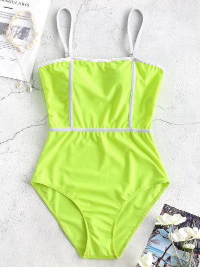 86a4f4766d Cami Piping One-piece Swimwear - Green Yellow - Green Yellow Xl