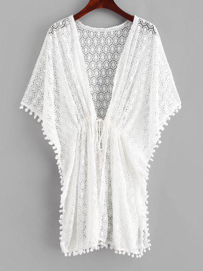 Crochet Pom Pom Butterfly Sleeve Cover Up