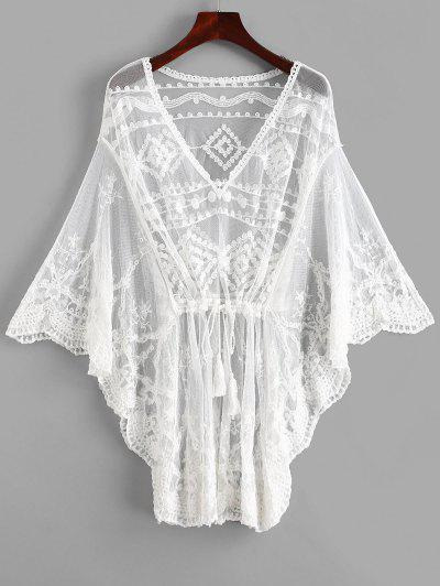 0cb96a5c240b7 Butterfly Sleeve Crochet Mini Beach Dress - White ...