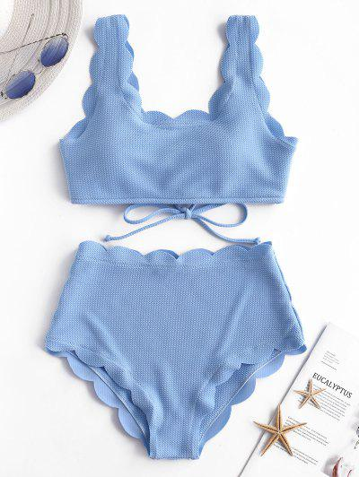 6415fa4cab21 Qonew Conjunto De Biquíni De Cintura Alta Recortado Com Textura - Dia Céu  Azul L ...
