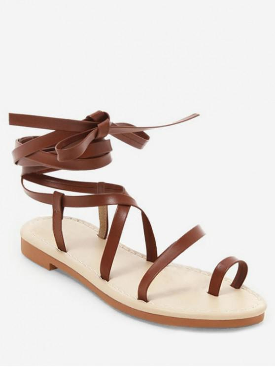 new Toe Ring Lace Up Sandals - BROWN EU 39