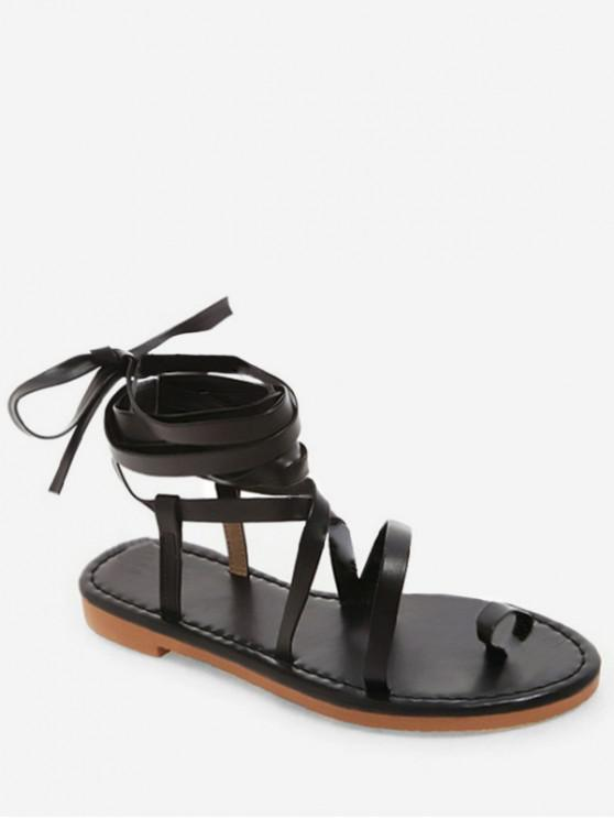 Toe Ring Lace Up Sandals - Preto UE 37