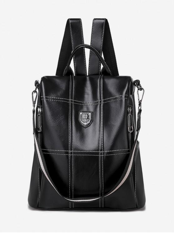 chic Plaid Design PU Backpack - BLACK