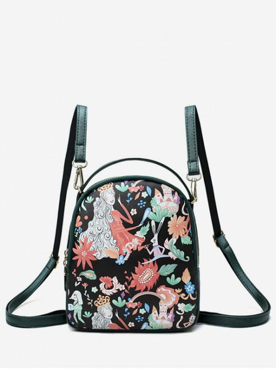 outfits Fairy Floral Print Backpack - GREEN