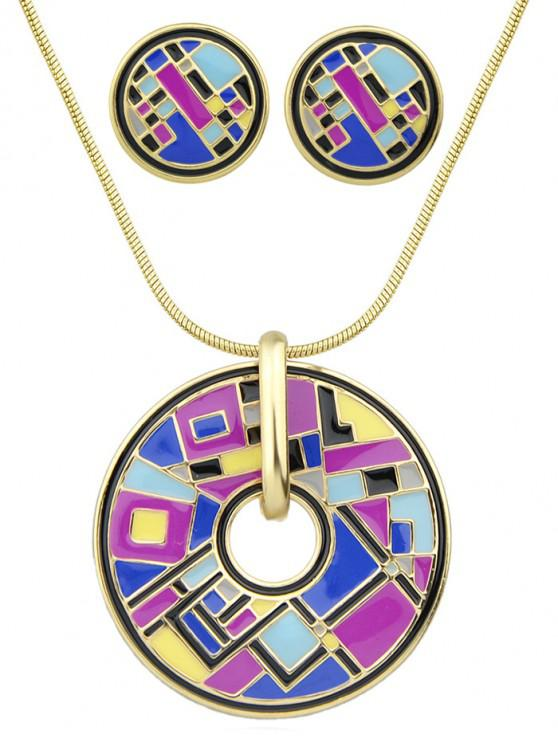outfit Round Geometric Necklace Earrings Set - PURPLE