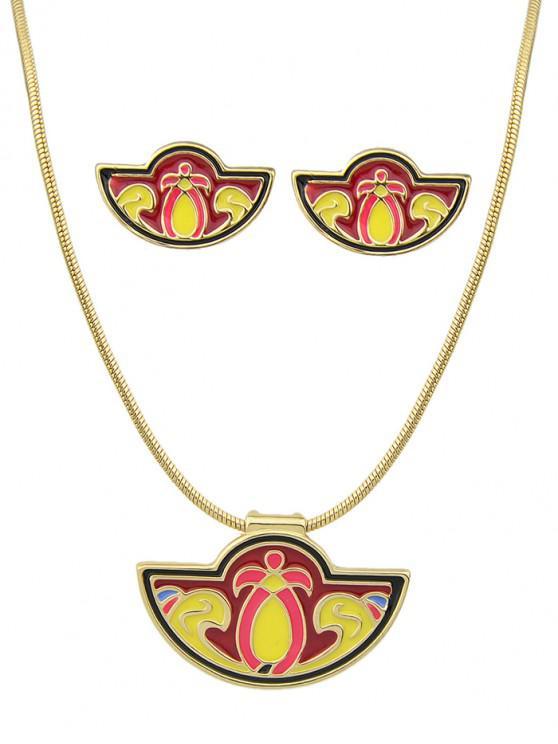 sale Enamel Shape Fan Necklace Earrings Set - YELLOW