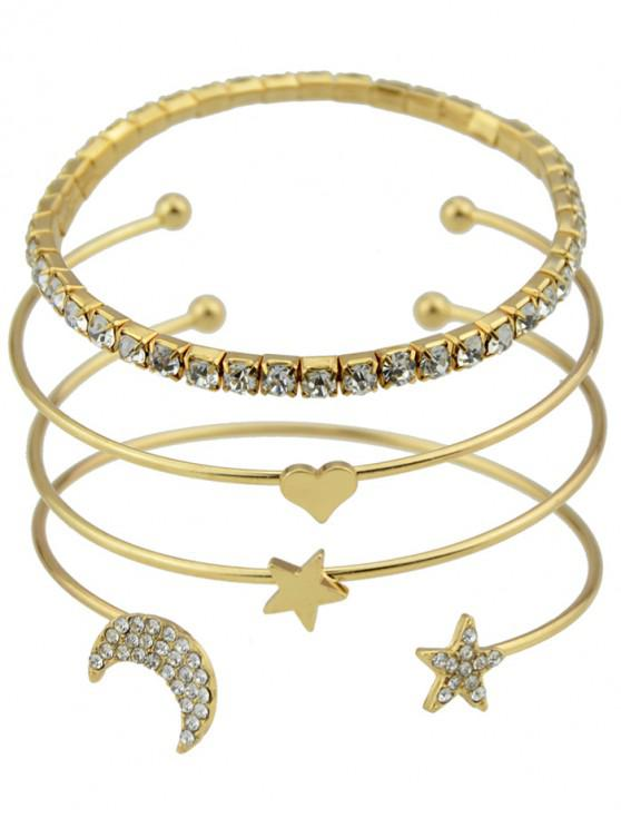 women 4Pcs Heart Star Open Bracelet Set - GOLD