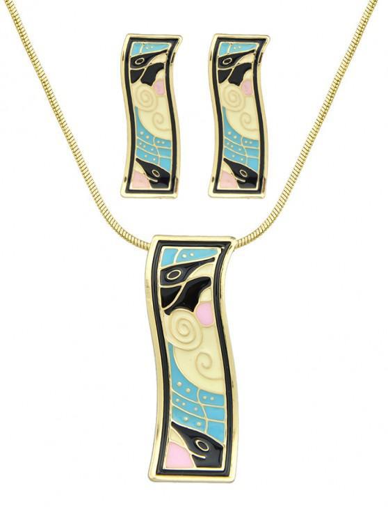 women's Alloy Enamel Geometric Necklace Earrings Set - DEEP SKY BLUE