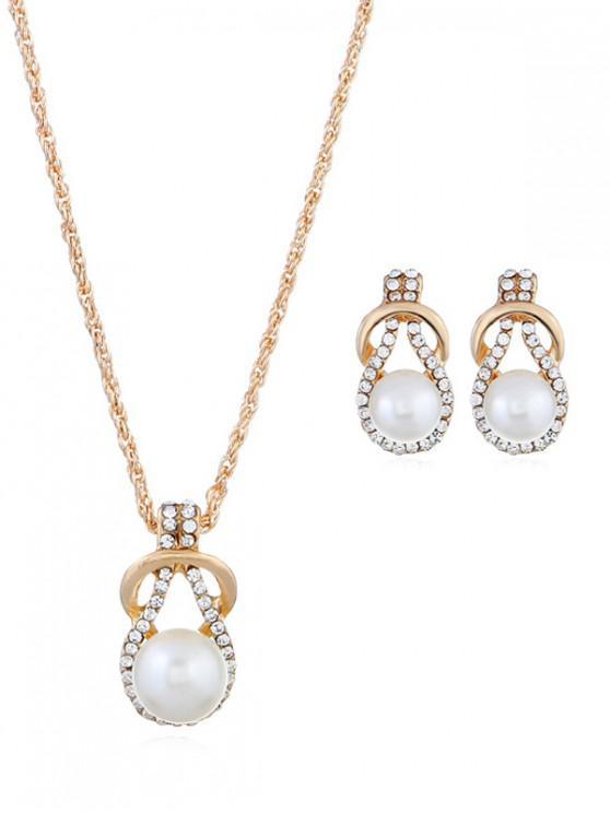 hot Rhinestone Decoration Faux Pearl Jewelry Set - WHITE