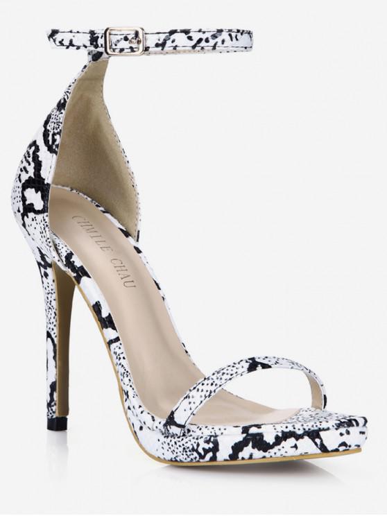 b0ea6081a62 38% OFF   NEW  2019 Snakeskin Pattern Stiletto Heel Sandals In WHITE ...