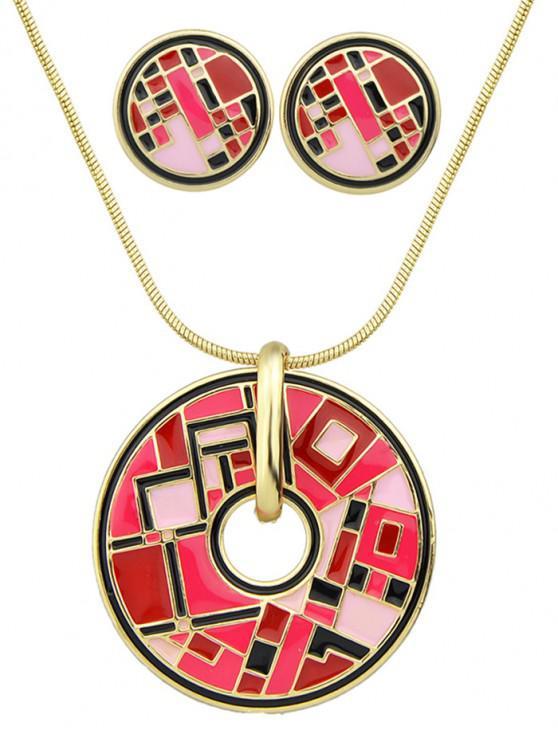 fancy Round Geometric Necklace Earrings Set - RED