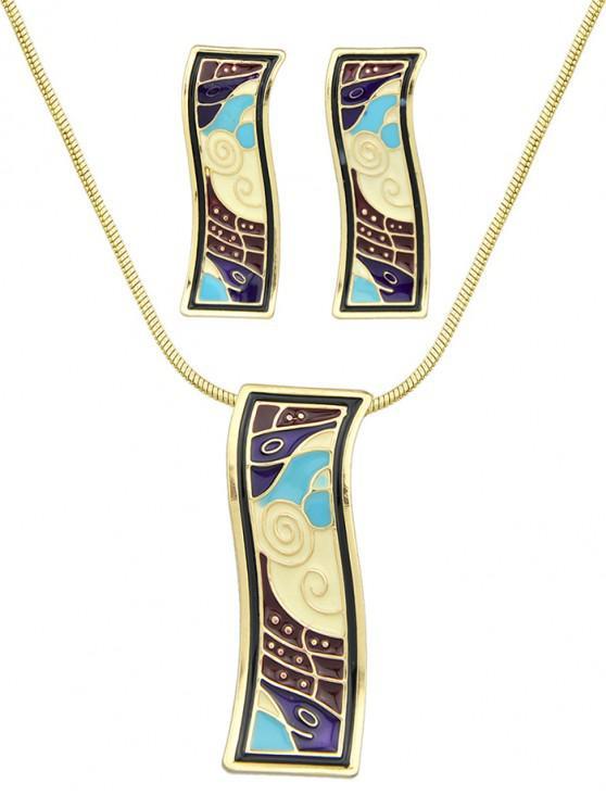 buy Alloy Enamel Geometric Necklace Earrings Set - RED WINE