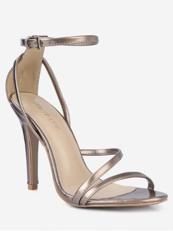 shops Chic Buckle Strap Stiletto Heel Sandals - GOLD EU 39