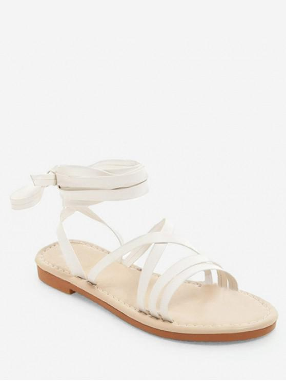 fancy Lace-up Decoration Beach Sandals - WHITE EU 42
