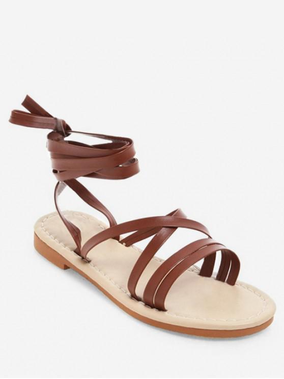 women's Lace-up Decoration Beach Sandals - BROWN EU 43