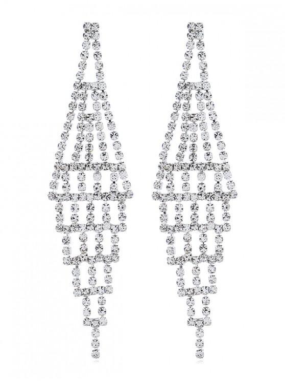 outfits Bridal Rhinestone Chandelier Earrings - SILVER