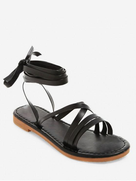 shop Lace-up Decoration Beach Sandals - BLACK EU 39