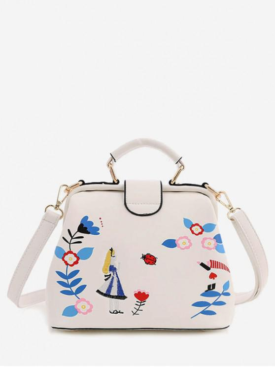 buy Flower Girl Embroidered Tote Bag - WHITE