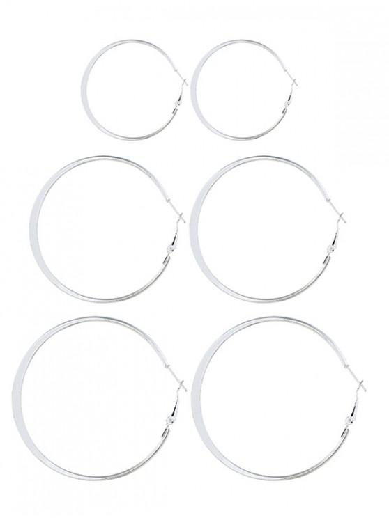 womens 3 Pairs Alloy Hoop Earrings Set - SILVER