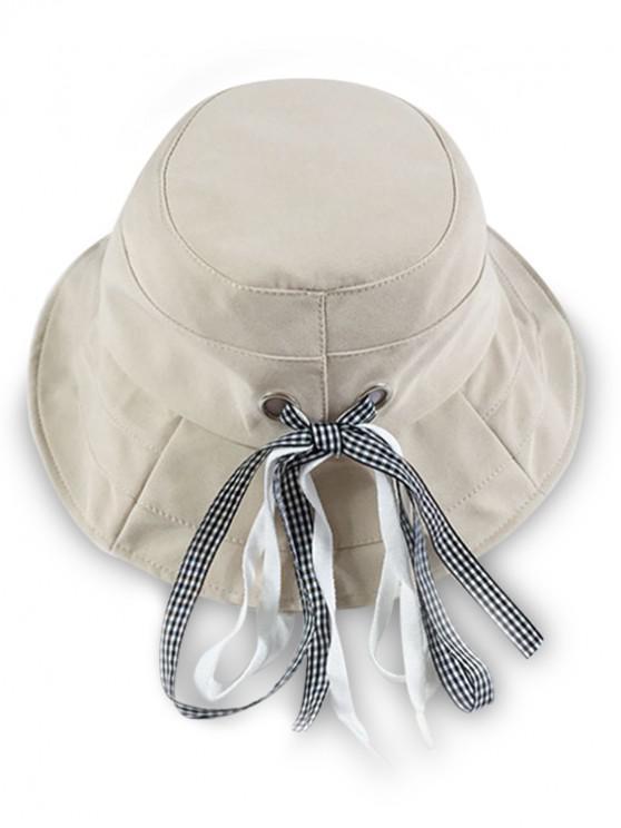 online Cotton Bowknot Design Bucket Hat - BEIGE