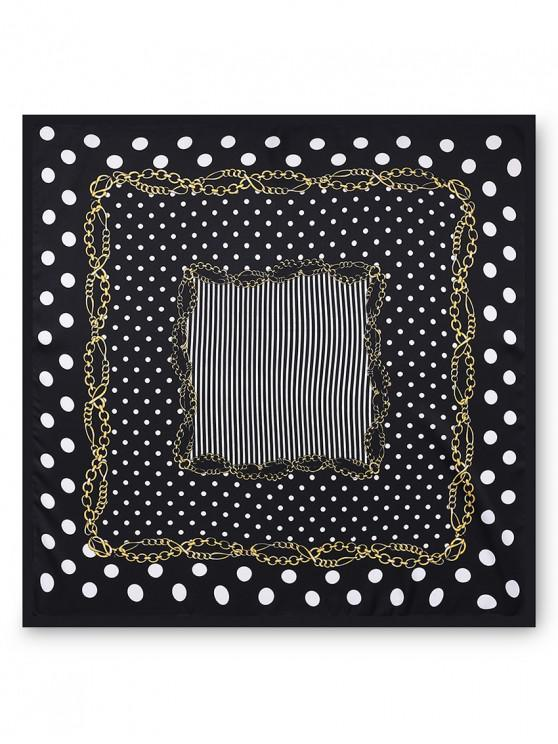 outfits Twill Printed Stripe Dot Scarf - BLACK