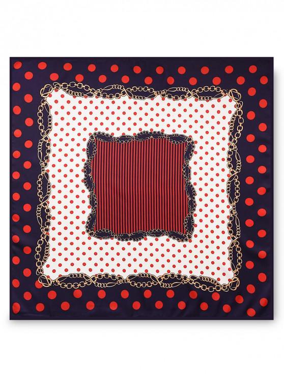 fancy Twill Printed Stripe Dot Scarf - RED