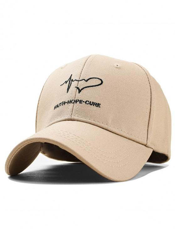 women's Heart Pattern Embroidered Baseball Hat - BEIGE