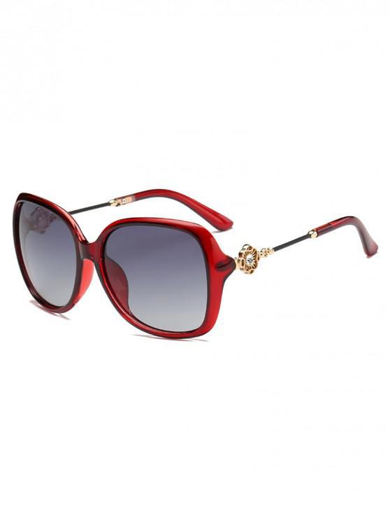 trendy Square Polarized Rhinestone Decorated Sunglasses - RED
