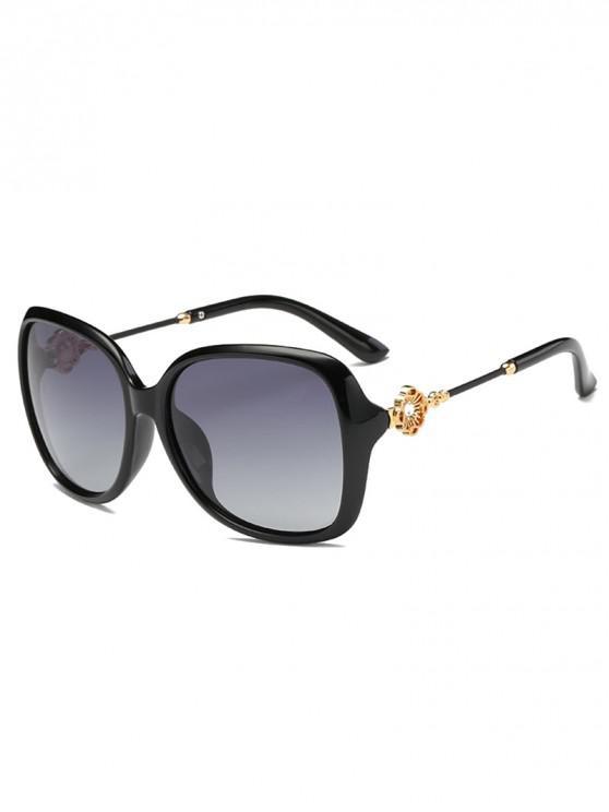 ladies Square Polarized Rhinestone Decorated Sunglasses - BLACK