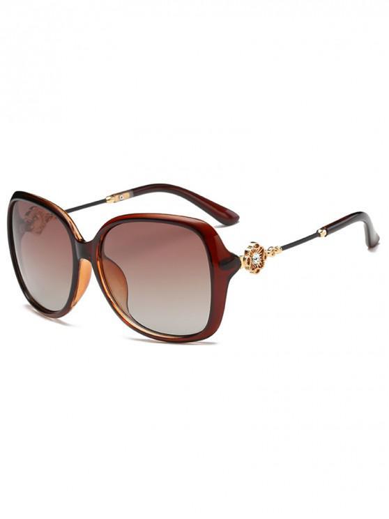 online Square Polarized Rhinestone Decorated Sunglasses - BROWN