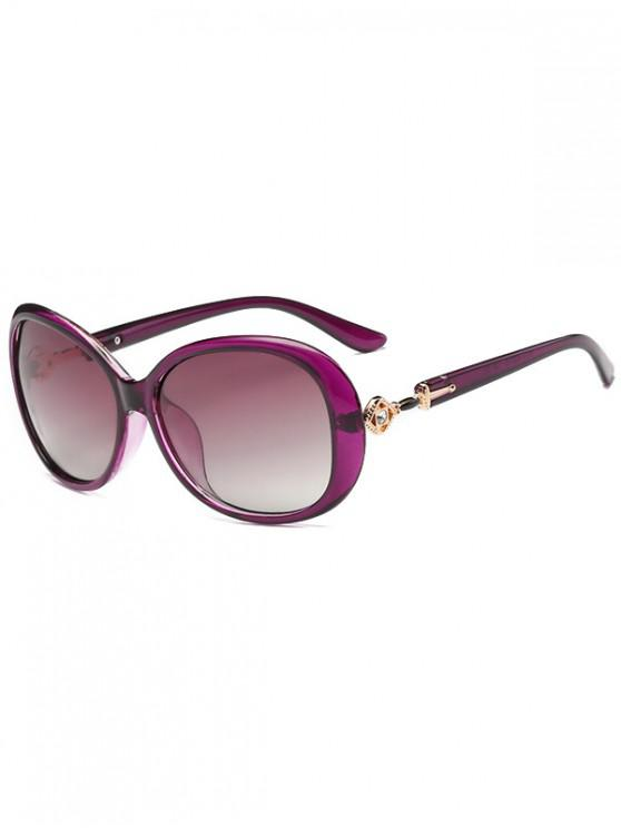 hot Oversized Rhinestone Polarized Decorated Sunglasses - PURPLE