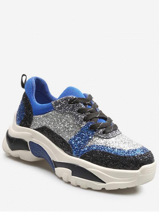 Baskets Plate-forme en Blocs de Couleurs à Paillettes - Bleu Cobalt EU 39
