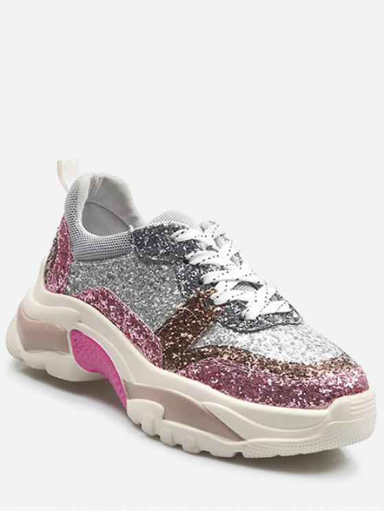best Glitter Color Block Platform Sneakers - WATERMELON PINK EU 38