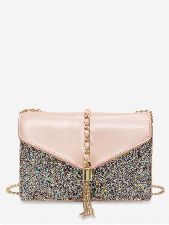 Bolsa de ombro Paillette Tassel Design - Rosa