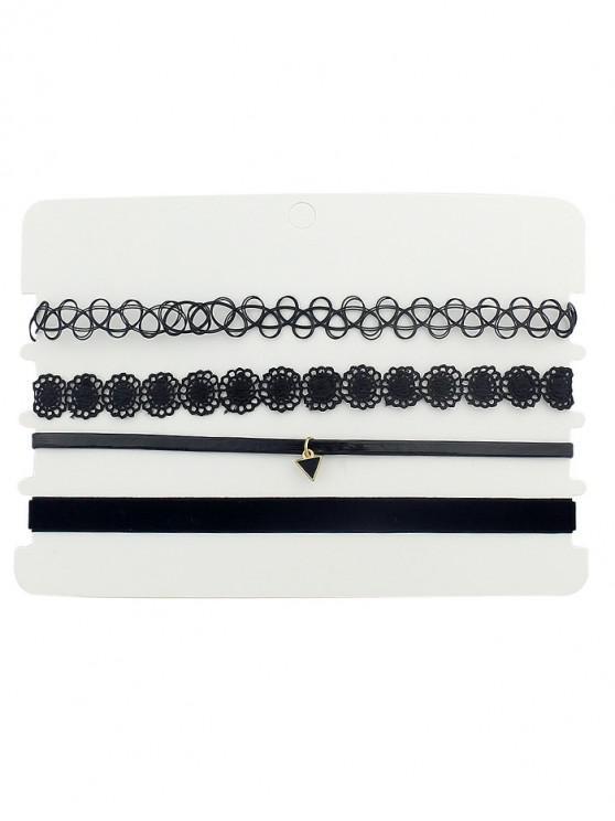 online 4Pcs Flower Triangle Choker Necklace Set - BLACK