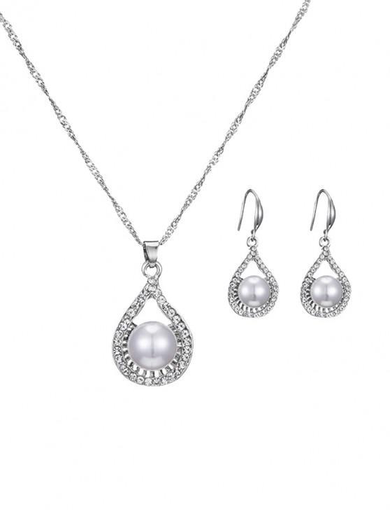 d75c3eabf62c Collar de lágrima de perlas de imitación con pendientes